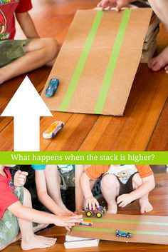 An inclined plane for kids to test and see what happens when its raised