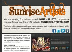Looking for the opportunity to interact directly with international artists and cover various events. #Journalism #Internships are available at Sunrise Artists.