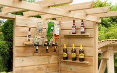 Our fantastic and fun Gin Bar will add the life and soul to any garden, all you need is the right company, right beverages and of course this bar to have a night you'll never forget! The Gin Bar has been manufactured from Swedish Redwood making this bar e Bbq Area Garden, Garden Bar Shed, Garden Yard Ideas, Patio Ideas, Diy Outdoor Bar, Outdoor Decor, Crate Bar, Home Pub, Craft Gin