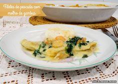 Filetes gratinados com molho de gambas Healthy Recipes, Healthy Food, Cantaloupe, Mashed Potatoes, Fish, Fruit, Ethnic Recipes, Gratin, Mop Sauce
