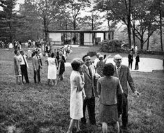 For architect Philip Johnson, his beloved Glass House was more than just a residence. When he lived there - from 1949 until his death in 2005 – he saw it as an incubator, canvas and salon. Pictured, a soiree from back in the day.