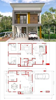 Small Home Design Plan with 3 Bedrooms - SamPhoas Plansearch Small Home Design Plan with 3 Bedrooms. This villa is modeling by SAM-ARCHITECT With 2 stories level. It's has 3 bedrooms.Simple Home Design Simple House Design, House Front Design, Tiny House Design, Modern House Design, Small Home Design, Model House Plan, Dream House Plans, Small House Plans, 2 Storey House Design
