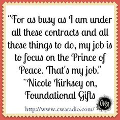 Swamped with work and behind on her Christmas shopping, God tapped Coach Nicole on the shoulder with a little word about peace. She shares it here with us today. http://www.cwaradio.com/archives/peace