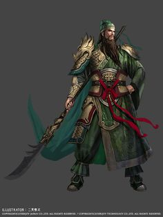 I really like the green, crimson and gold color scheme and the details of his costume.  関羽|全身イラストショット
