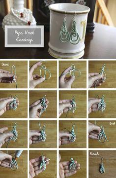 """Como hacer unos Pendientes de Nudo """"Pipa"""" - enrHedando"""