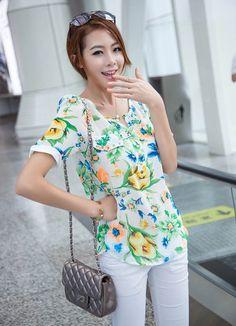 10 USD  - white Print Chiffon, Chiffon Shirt, Short Sleeve Blouse, Flower Prints, Blouses For Women, Floral Tops, Shirts, Fashion, Floral Patterns