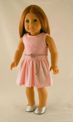 American Girl Doll Clothes  Pink Knit Dress by Forever18Inches, $30.00