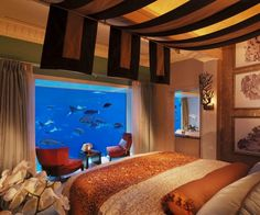 Interior aquariums bedroom
