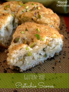 Gluten free scones! Crisp edges with crunchy sugar, sweet soft and flaky insides, and crunchy and nutty pistachios all over the place. Delicious scones and #glutenfree too!