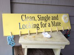 """Custom Lost Socks Wall Hanging. $32.00, via Etsy. """"Clean, Single and Looking for a Mate:"""