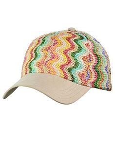 261b4a55e84 C.C Multicolored Paper Straw Weaved Adjustable Precurved Baseball Cap Hat