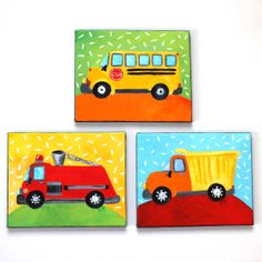 Decorating for a baby boy?   This is perfect!    TRUCKS Set of 3 8x10   by nJoyArt    #art #nursery #baby boy