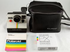 Want a Polaroid camera so badly! Polaroid SX70 One Step White Rainbow Stripe by ShutterSavvy, $109.00