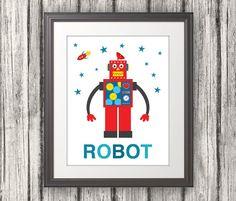 Robot Retro Nursery Print Robot Art Robot by BentonParkPrints, $16.00
