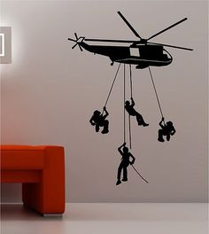 Wall decal of my soldier and his Blackhawk helicopter