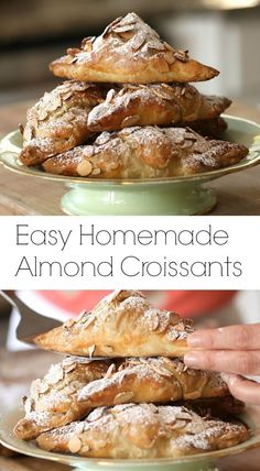 this little cheat for easy homemade almond croissants using store-bought puff pastry.Try this little cheat for easy homemade almond croissants using store-bought puff pastry. Köstliche Desserts, Delicious Desserts, Dessert Recipes, Yummy Food, Impressive Desserts, Pavlova, Almond Recipes, Baking Recipes, Pastas Recipes