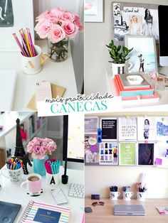 Decoração de escrivaninha estilo Pinterest: o que usar?Decoração de home office, decoração, home office, inspiração, escrivaninha, decoração de escrivaninha, canecas, canecas com flores, canecas com canetas, canecas com lapis, decoração com canecas