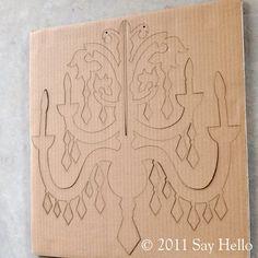 Lámpara de araña de cartón - Cardboard Chandelier DIY Cardboard Chandelier SMALL by sayhelloshop on Etsy