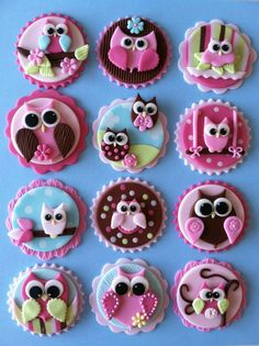 Owl Cupcake toppers! LUV!!!!!!  https://www.facebook.com/pages/Cakes-by-Angela-Morrison