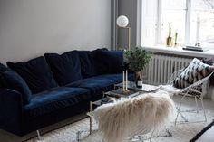 The Perfect Blue Velvet Couch   Carolina Engman Home Interior design   Interior design ideas   Decorating ideas   House interior design   Furniture   Contemporary   Modern   Interior design projects   Decor   Decorating  