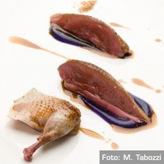 Piccione allo spiedo, marmellata cruda di cavolo rosso - Chef Enrico Crippa