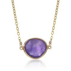 Ross-Simons - 7.00 Carat Amethyst Drop Necklace in 14kt Yellow Gold and Vermeil - #776013 Bold, powerful