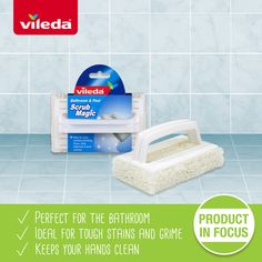 The Vileda Heavy Duty Scourer Pad with Handle perform a strong cleaning power on real heavy duty cleaning tasks reducing the use of chemicals. Cleaning Products, Scrubs, Tiles, It Is Finished, Stains, Magic, Bath, Shower, Thoughts