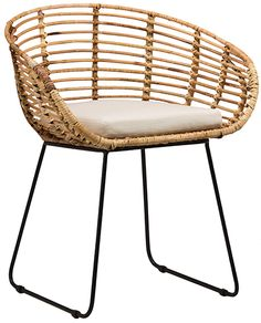 The Pablo Dining Chair by Dovetail is part an eclectic range of handmade furniture, accessories and textiles. Iron legs in black finish Handwoven rattan frame Loose cushion , seat height 18 Rattan Furniture, Handmade Furniture, Kitchen Furniture, Cool Furniture, Furniture Design, Luxury Furniture, Furniture Stores, Indian Furniture, Furniture Cleaning