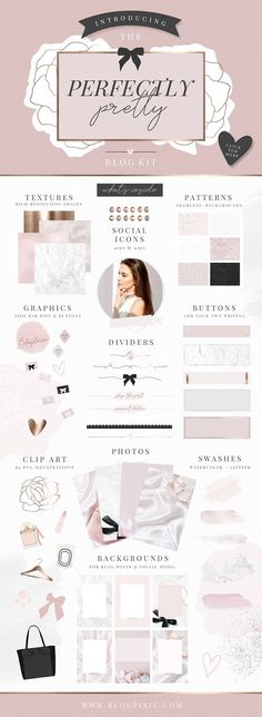 Pretty Blog Design Kit by Blog Pixie on @creativemarket