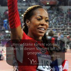 """OLYMPIA-IMPULS (6/17) Jeden Tag ein neuer Star. """"Meine Stärke kommt von ganz oben. In diesem Moment bin ich gesegnet."""" Sanya Richards-Ross (USA) #olympiaimpulse #sport #glaubensimpulse #im #rio #brasil #brasilien #sanyarichardsross #richardsross #amerika #america #usa"""