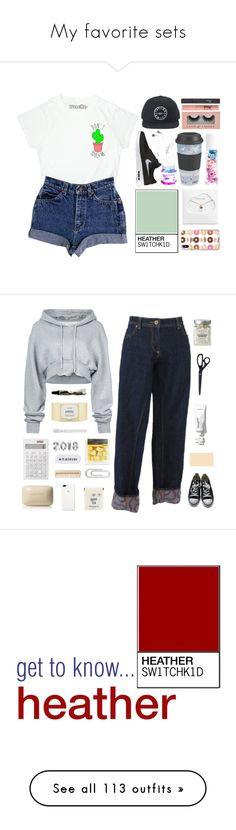 """""""My favorite sets"""" by switchkid ❤ liked on Polyvore featuring Blossom, Estella Bartlett, Too Faced Cosmetics, Christian Dior, NIKE, Hot Topic, Off-White, Vivienne Westwood, Aesop and Muji"""