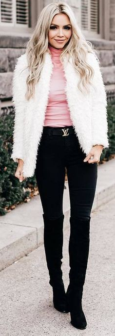 #winter #outfits pink shirt, white faux fur, black pants, boots