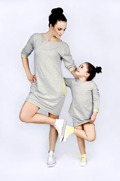 Like mother like daughter Matching mommy and me matchingoutfits :) The Same sweatshirt dress with lime mother daughter set www.thesame.eu