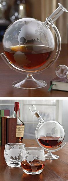 Globe etched glass spirits decanter // epic #product_design