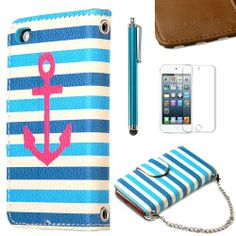 Pandamimi ULAK(TM) Colorful PU Leather Wallet Type Magnet Design Flip Case Cover for Apple iPod Touch 5 Generation with Screen Protector and Stylus (Blue White Strip w/ Red Anchor) ULAK,http://www.amazon.com/dp/B00IM3KLRY/ref=cm_sw_r_pi_dp_iB1stb15BBQ8R1PN