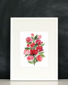 Handmade Watercolor Archival Art Print Roses in by YaoChengDesign