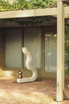 Use sculpture to create a theme in your garden Steel Sculpture, Garden Sculpture, Sculpture Ideas, Fruit Cage, Tree Fern, Sunken Garden, Victorian Gardens, Wrought Iron Gates, Corten Steel