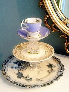 DIY Jewelry stand holder from vintage china