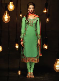 Delighting Heavy Faux Georgette Lace Fabric Green Churidar Suit  Email - support@ethnicoutfits.com Call - +918140714515 What's app/ Viber - +918141377746