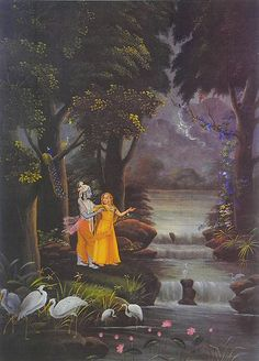 Secret Rendevous of Radha Krishna - Reprints of Miniature Paintings (Reprint on Paper - Unframed) Pichwai Paintings, Indian Art Paintings, Fantasy Paintings, Krishna Lila, Radha Krishna Love, Lord Krishna Images, Radha Krishna Pictures, Krishna Painting, Madhubani Painting