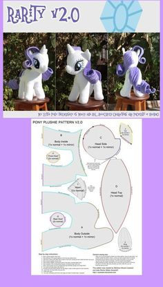 (JPEG Image, 628 × 1108 pixels yes yes yes!Mackovi k svátku/narozkám/atd.My little pony pattern!So easy plush rarity DIY My Little Pony - FREE Pattern I could make several of these in the various colors Felt Crafts, Fabric Crafts, Sewing Crafts, Sewing Projects, Plushie Patterns, Doll Patterns, Sewing Patterns, Softie Pattern, Stuffed Animals