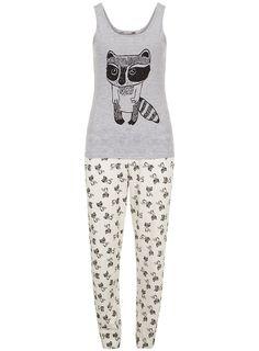 Cream and grey racoon pyjamas