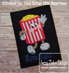 Movie Popcorn Animation Applique and Filled Design