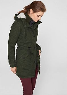 cb71be8c9c74 Canvas parka with a teddy bear fur hood in the s.Oliver Online Shop Oxblood