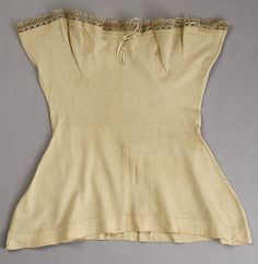 1880s Ladies Undershirt - This would have been worn under a corset similar to ones sold today for the modern corset wearer.  This would prevent skin chaffing caused by the friction of the corset and would also absorb perspiration to protect the corset and extend that garments longevity from unnecessary washing or staining. Could have been used under or in place of a chemise.  http://www.metmuseum.org/Collections/search-the-collections/80037299?rpp=60=14=on=*=Underwear=806#