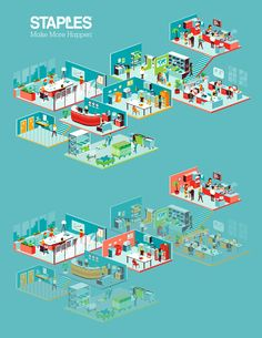 Isometric office illustration for the new Staples brochures.Artdirection by Koeweiden Postma Isometric Map, Isometric Drawing, Isometric Design, Business Illustration, Digital Illustration, Building Map, Concept Diagram, Web Design Trends, Graphic Design Inspiration