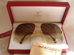 413c9b58b638 New vintage cartier santos screws !big! 62mm sunglasses france 18k heavy  plated