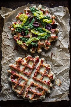 Pizza waffles - Many associate waffles with something sweet, but you can also use the waffle iron to make these delicious pizzas for dinner.