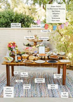 DIY taco bar for your next party! #diy #tacobar #weddingchicks Captured By: Marisa Holmes ---> http://www.weddingchicks.com/2014/04/30/make-your-own-taco-bar/
