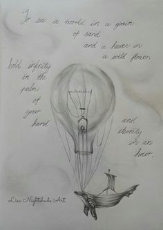 A dreamy scene of a whale boat and a lightbulb balloon.